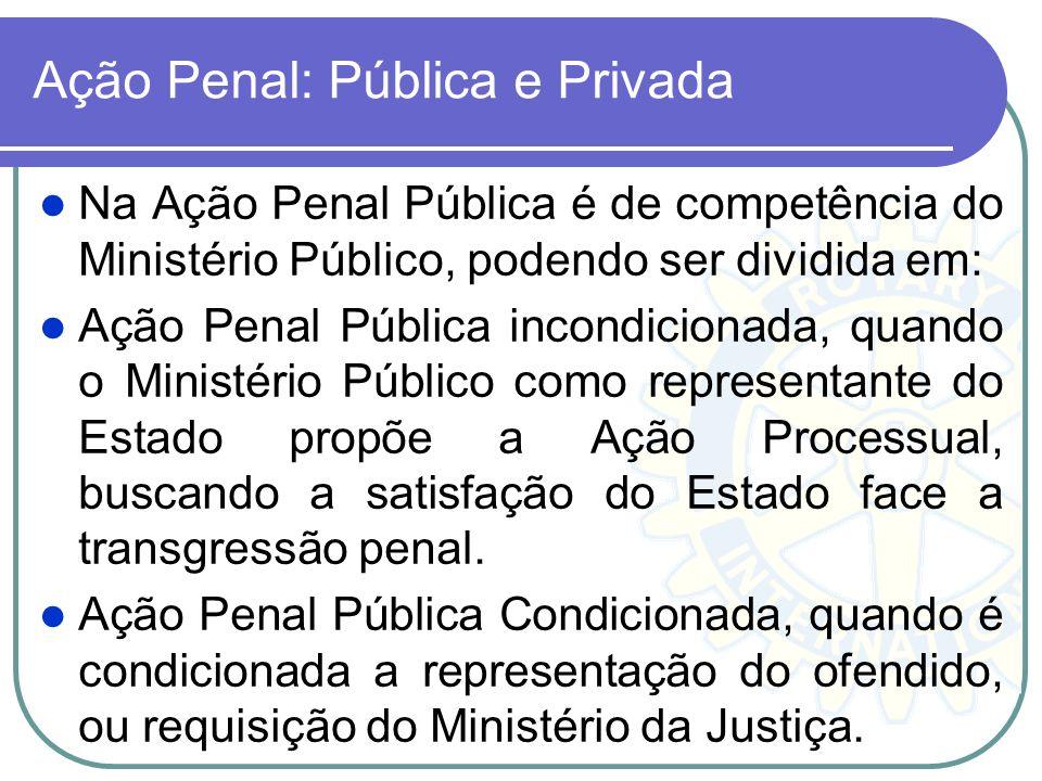 A atuação de Ministério Público, na área penal, entre outras atribuição, temos: Denúncia quando se trata de ação pública; e, Queixa quando na ação pri