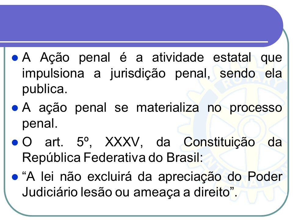 Ação Penal: Pública e Privada Na Ação Penal Pública é de competência do Ministério Público, podendo ser dividida em: Ação Penal Pública incondicionada