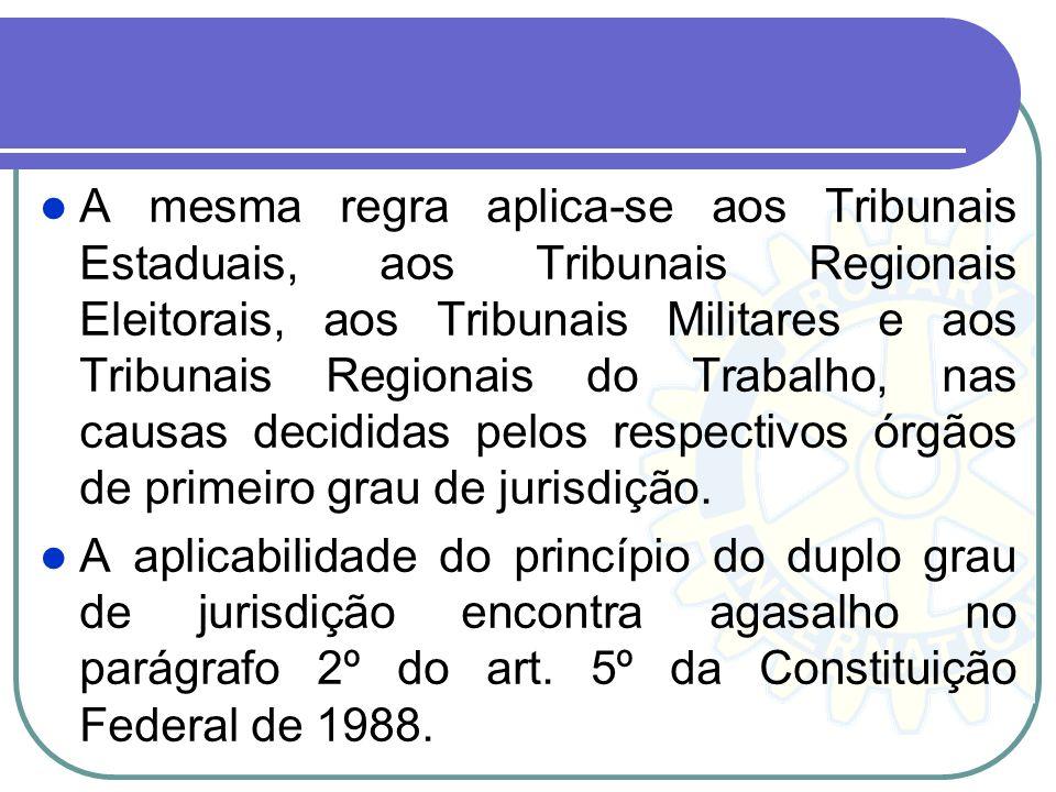 Princípio do Duplo Grau de Jurisdição O princípio do duplo grau de jurisdição decorre de nosso próprio sistema constitucional, quando estabelece a com