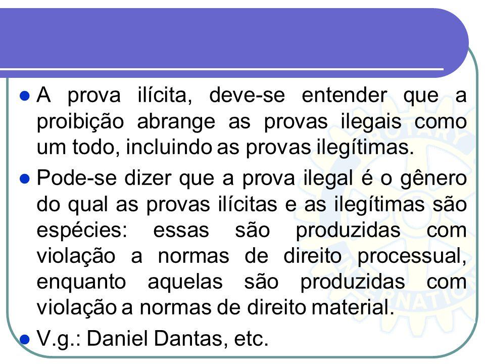 Princípio da Inadmissibilidade de Provas Obtidas por Meios Ilícitos. A CF/88 veda expressamente a utilização, no processo, de provas obtidas por meios