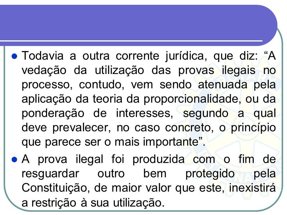 O STF tem se manifestado pela inadmissibilidade das provas ilegais por derivação, adotando a teoria dos frutos da árvore envenenada, senão vejamos: A