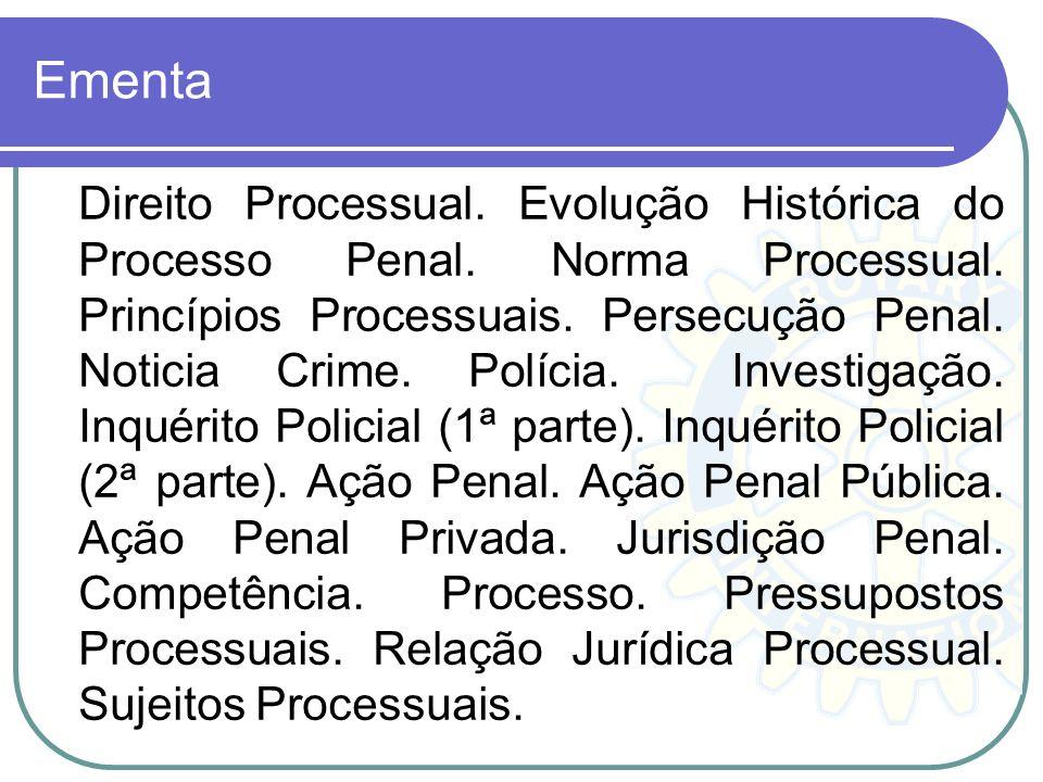 Plano de Aula 5º. Período Direito 2012-1 Ementa. Direito Processual Penal I