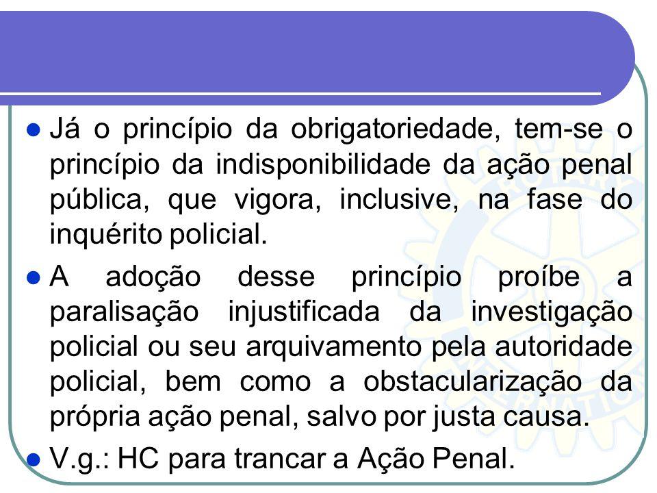 Princípios da Obrigatoriedade e da Indisponibilidade da Ação Penal. O princípio da obrigatoriedade da ação penal fundamenta-se na necessidade de defes