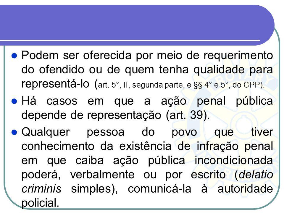 Na segunda (provocada), por comunicação formal da vítima ou de qualquer do povo, por representação, por requisição judicial ou do Ministério Público,