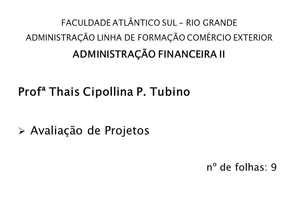 FACULDADE ATLÂNTICO SUL – RIO GRANDE ADMINISTRAÇÃO LINHA DE FORMAÇÃO COMÉRCIO EXTERIOR ADMINISTRAÇÃO FINANCEIRA II Profª Thais Cipollina P. Tubino Ava