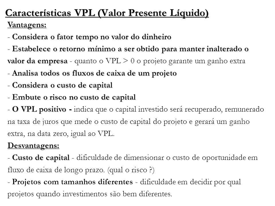 Características VPL (Valor Presente Líquido) Vantagens: Considera o fator tempo no valor do dinheiro Estabelece o retorno mínimo a ser obtido para man