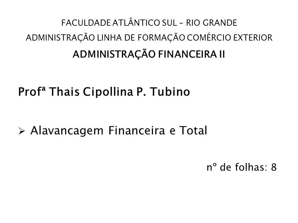 FACULDADE ATLÂNTICO SUL – RIO GRANDE ADMINISTRAÇÃO LINHA DE FORMAÇÃO COMÉRCIO EXTERIOR ADMINISTRAÇÃO FINANCEIRA II Profª Thais Cipollina P. Tubino Ala