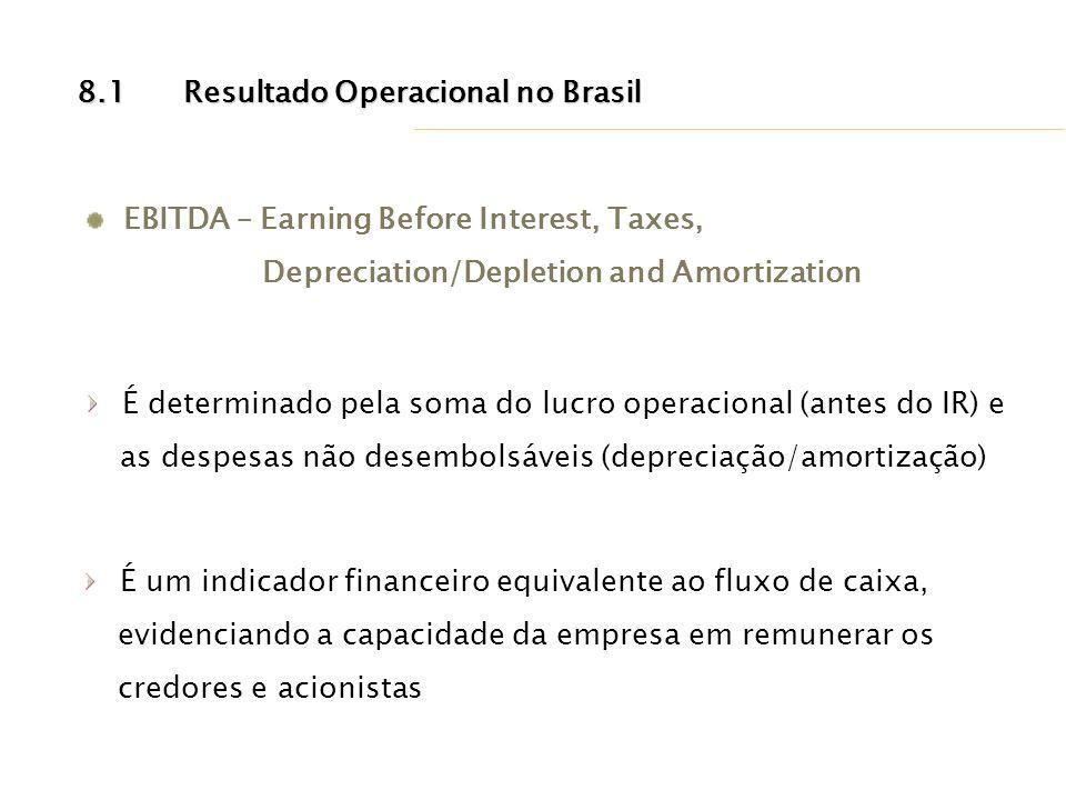 EBITDA – Earning Before Interest, Taxes, Depreciation/Depletion and Amortization 8.1Resultado Operacional no Brasil É determinado pela soma do lucro o