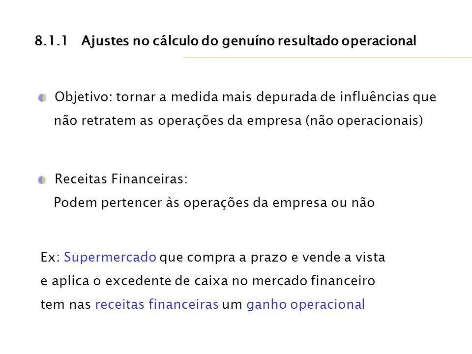 8.1.1Ajustes no cálculo do genuíno resultado operacional Objetivo: tornar a medida mais depurada de influências que não retratem as operações da empre