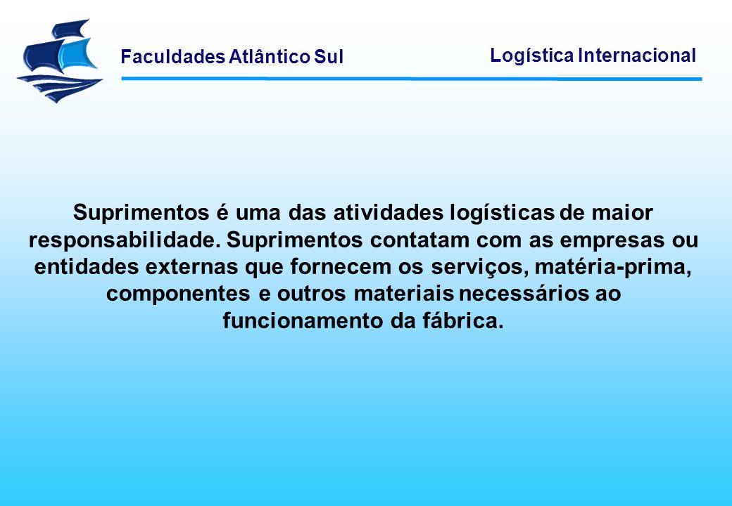 Faculdades Atlântico Sul Logística Internacional Quanto mais complexo for o sistema de produção, maior será o nível de exigências aos fornecedores.