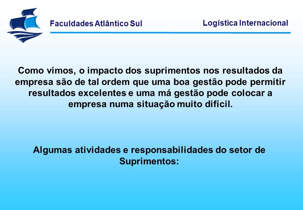 Faculdades Atlântico Sul Logística Internacional Identificar, avaliar e selecionar fontes de fornecimento de matéria-prima, serviços, componentes e outros materiais necessários à empresa.