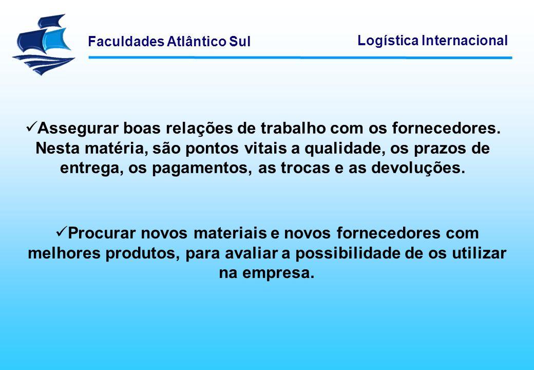 Faculdades Atlântico Sul Logística Internacional Adquirir os produtos necessários, de acordo com os requisitos de qualidade e ao melhor preço.