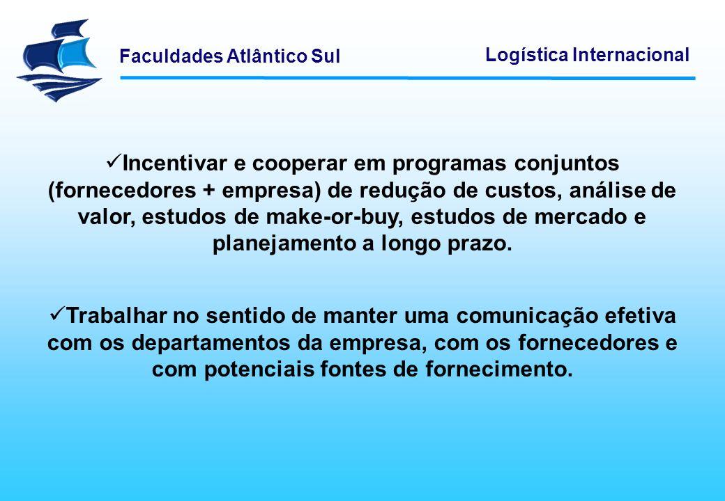 Faculdades Atlântico Sul Logística Internacional Informar a gestão da empresa dos custos envolvidos no processo de compra e seleção de fornecedores e das alterações de mercado que possam afetar os resultados da empresa ou a sua estratégia de desenvolvimento.