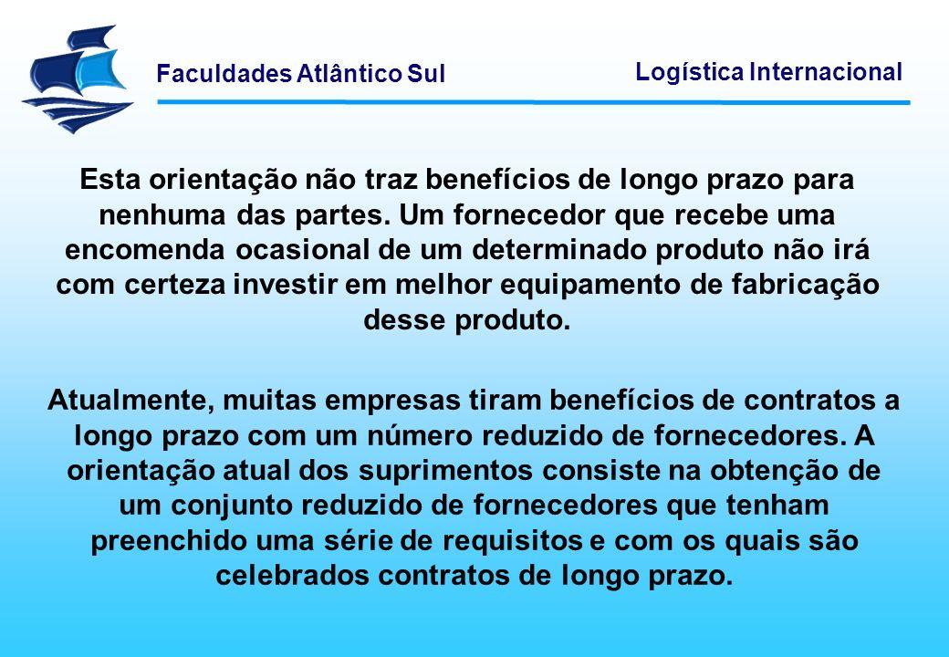 Faculdades Atlântico Sul Logística Internacional As empresas estão reduzindo o número de fornecedores para cada referência.