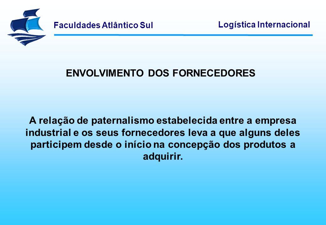 Faculdades Atlântico Sul Logística Internacional As empresas industriais se beneficiam do know-how dos fornecedores para a concepção dos seus produtos.