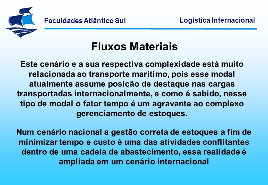 Faculdades Atlântico Sul Logística Internacional Fluxos Materiais Ao analisarmos esses fluxos percebemos que a grande dificuldade é administrar com exatidão esses fluxos materiais.