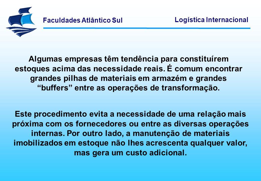Faculdades Atlântico Sul Logística Internacional O grande objetivo da logística, com já dito, é obter um fluxo contínuo de materiais desde os fornecedores até aos clientes, passando pelas operações de transformação necessárias.