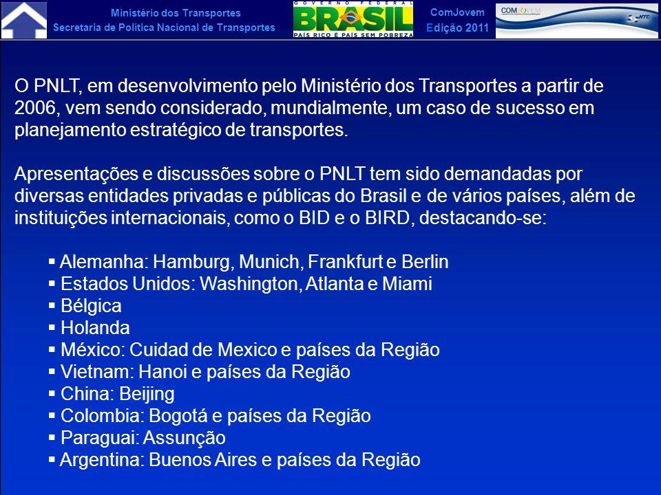 Ministério dos Transportes Secretaria de Política Nacional de Transportes ComJovem Edição 2011 O PNLT, em desenvolvimento pelo Ministério dos Transpor