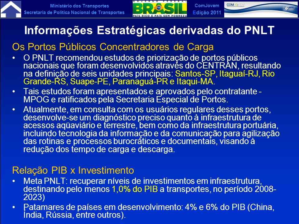 Ministério dos Transportes Secretaria de Política Nacional de Transportes ComJovem Edição 2011 Informações Estratégicas derivadas do PNLT Os Portos Pú