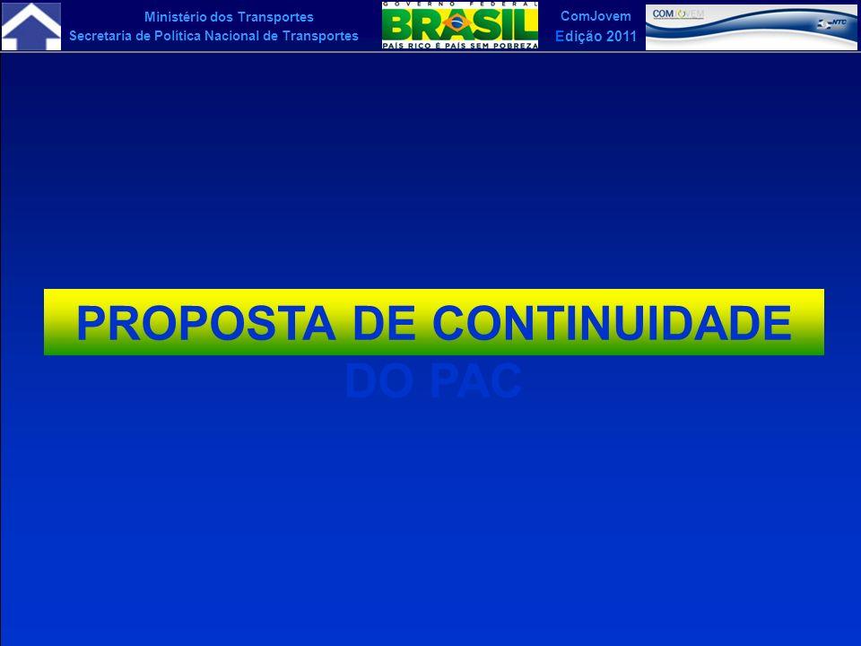 Ministério dos Transportes Secretaria de Política Nacional de Transportes ComJovem Edição 2011 PROPOSTA DE CONTINUIDADE DO PAC