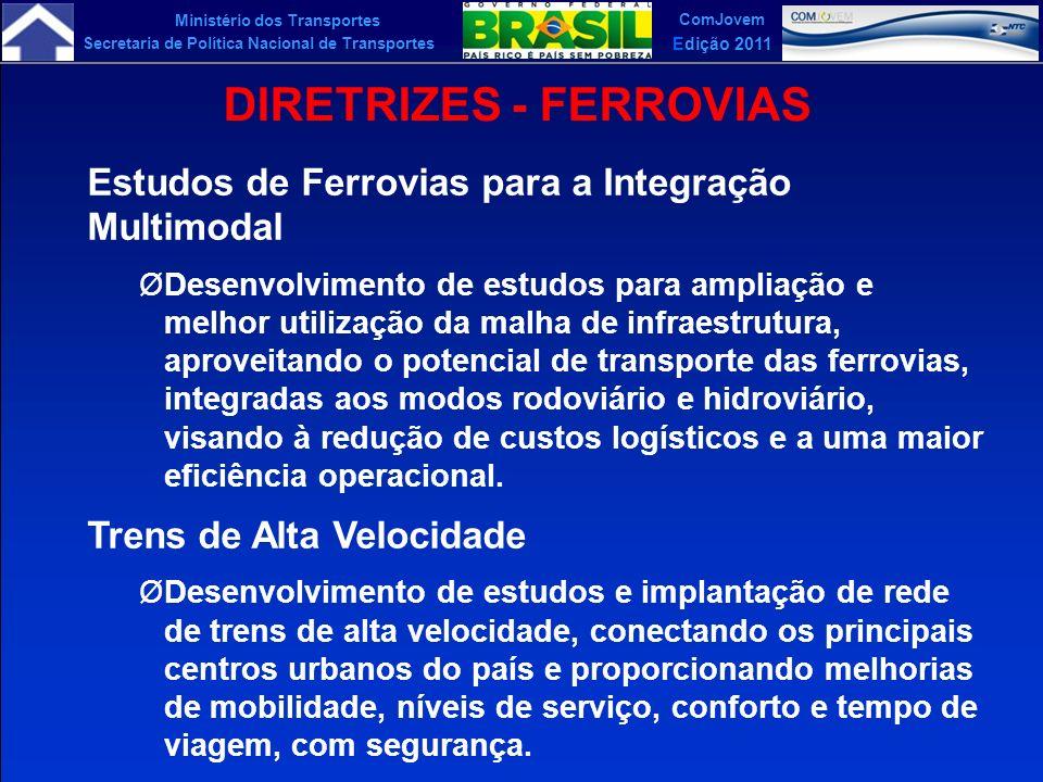 Ministério dos Transportes Secretaria de Política Nacional de Transportes ComJovem Edição 2011 DIRETRIZES - FERROVIAS Estudos de Ferrovias para a Inte