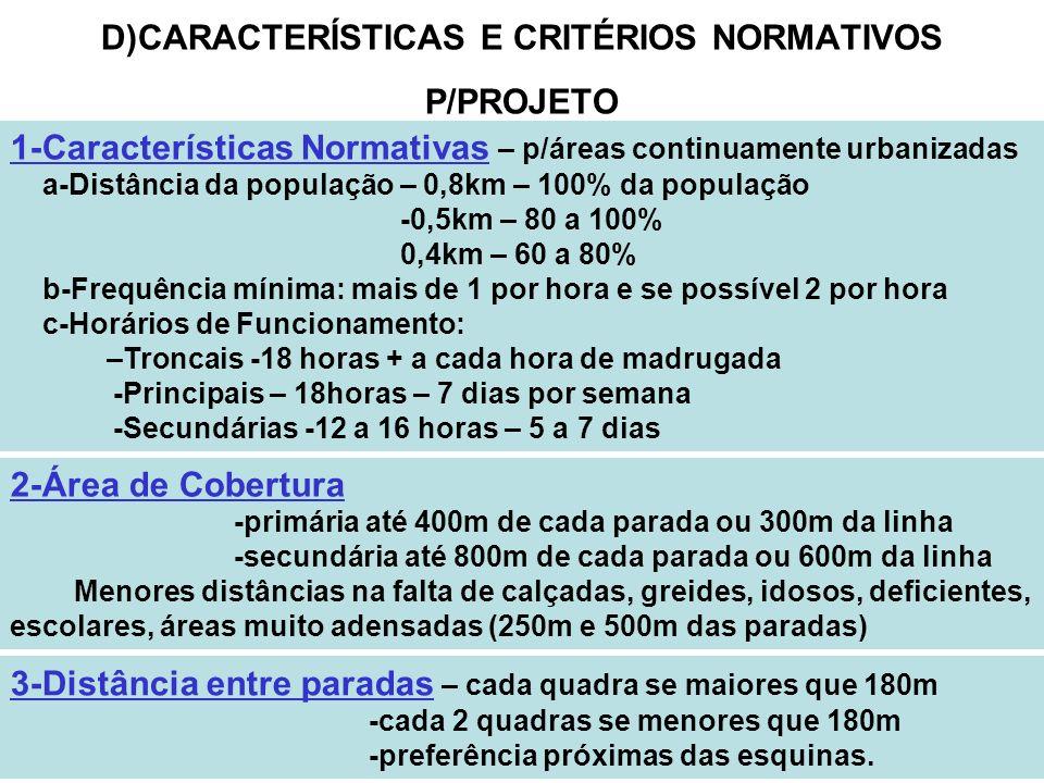 19 D)CARACTERÍSTICAS E CRITÉRIOS NORMATIVOS P/PROJETO 1-Características Normativas – p/áreas continuamente urbanizadas a-Distância da população – 0,8k