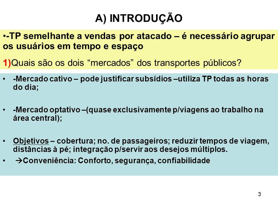 3 A) INTRODUÇÃO -Mercado cativo – pode justificar subsídios –utiliza TP todas as horas do dia; -Mercado optativo –(quase exclusivamente p/viagens ao t