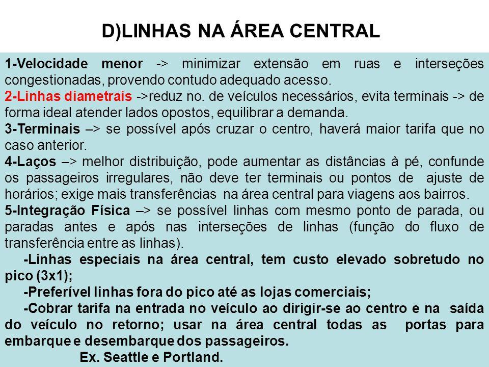 31 D)LINHAS NA ÁREA CENTRAL 1-Velocidade menor -> minimizar extensão em ruas e interseções congestionadas, provendo contudo adequado acesso. 2-Linhas