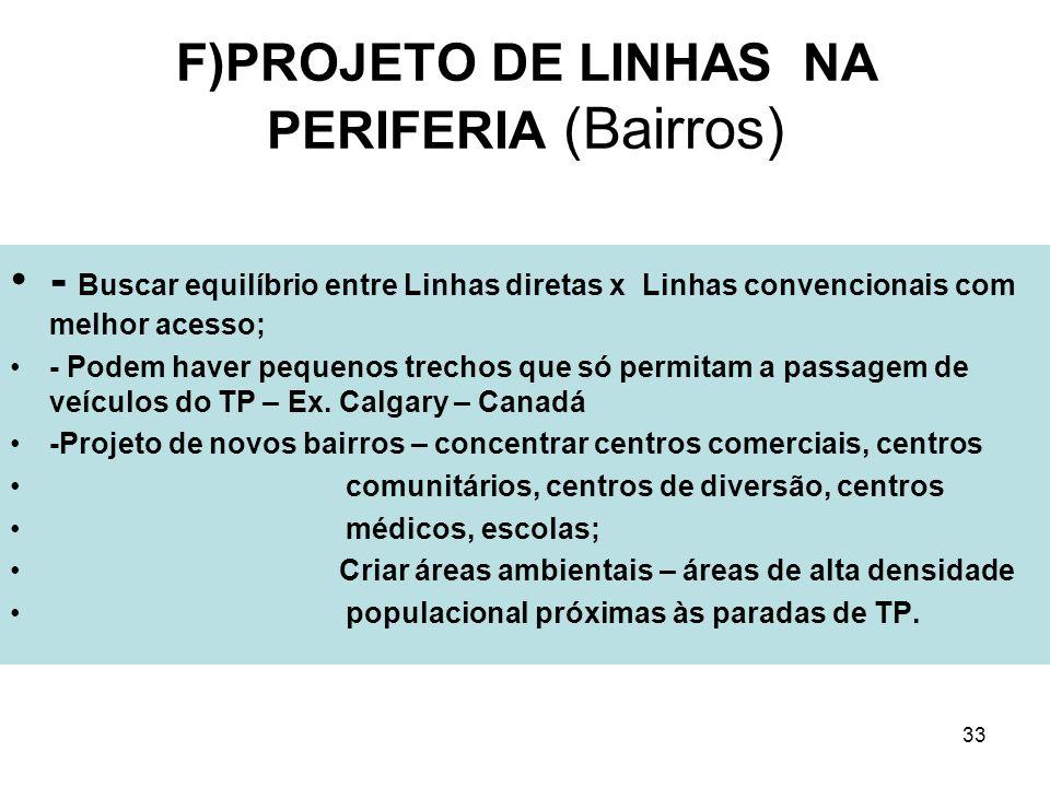 33 F)PROJETO DE LINHAS NA PERIFERIA (Bairros) - Buscar equilíbrio entre Linhas diretas x Linhas convencionais com melhor acesso; - Podem haver pequeno