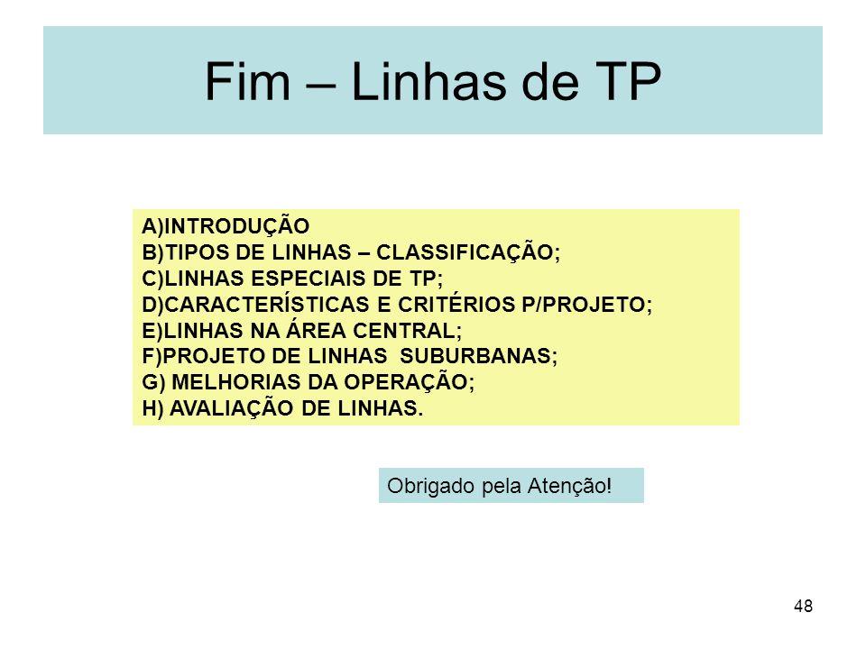 48 Fim – Linhas de TP A)INTRODUÇÃO B)TIPOS DE LINHAS – CLASSIFICAÇÃO; C)LINHAS ESPECIAIS DE TP; D)CARACTERÍSTICAS E CRITÉRIOS P/PROJETO; E)LINHAS NA Á