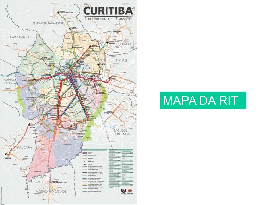 Características da RIT A Rede Integrada de Transporte (RIT) permite ao usuário a utilização de mais de uma linha de ônibus com o pagamento de apenas uma tarifa.