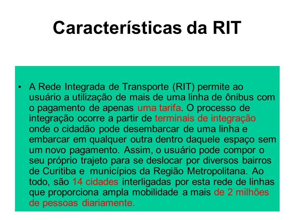 Características da RIT A Rede Integrada de Transporte (RIT) permite ao usuário a utilização de mais de uma linha de ônibus com o pagamento de apenas u