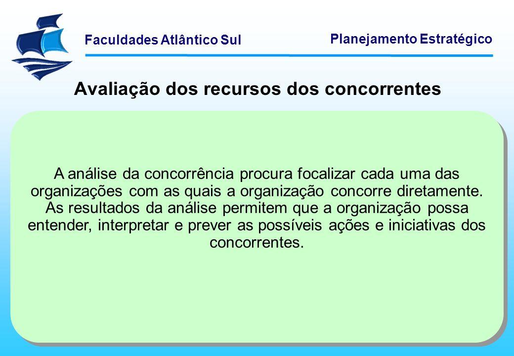 Faculdades Atlântico Sul Planejamento Estratégico Avaliação dos recursos dos concorrentes A análise da concorrência procura focalizar cada uma das org