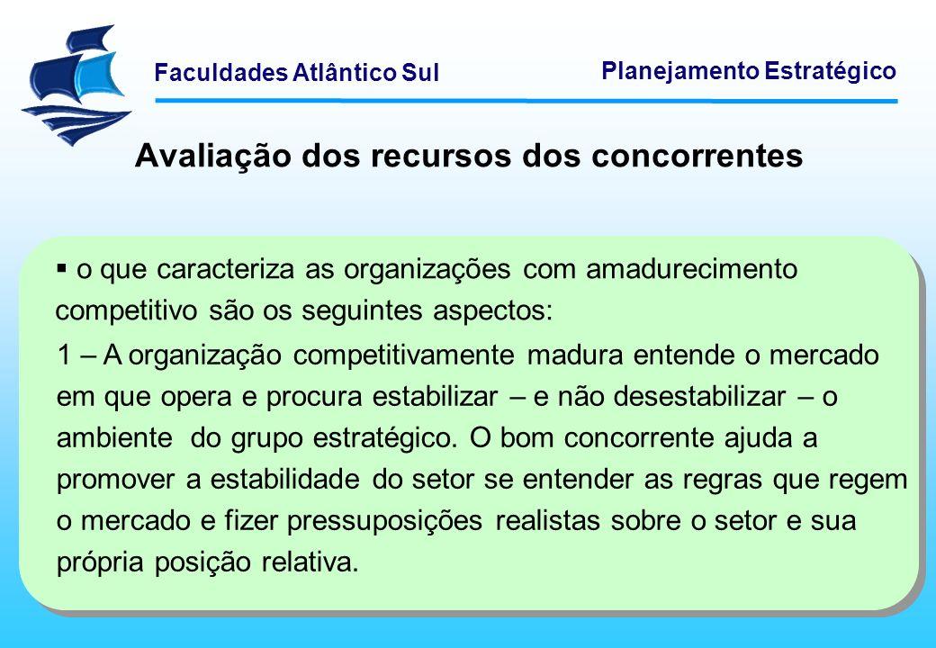 Faculdades Atlântico Sul Planejamento Estratégico Avaliação dos recursos dos concorrentes o que caracteriza as organizações com amadurecimento competi