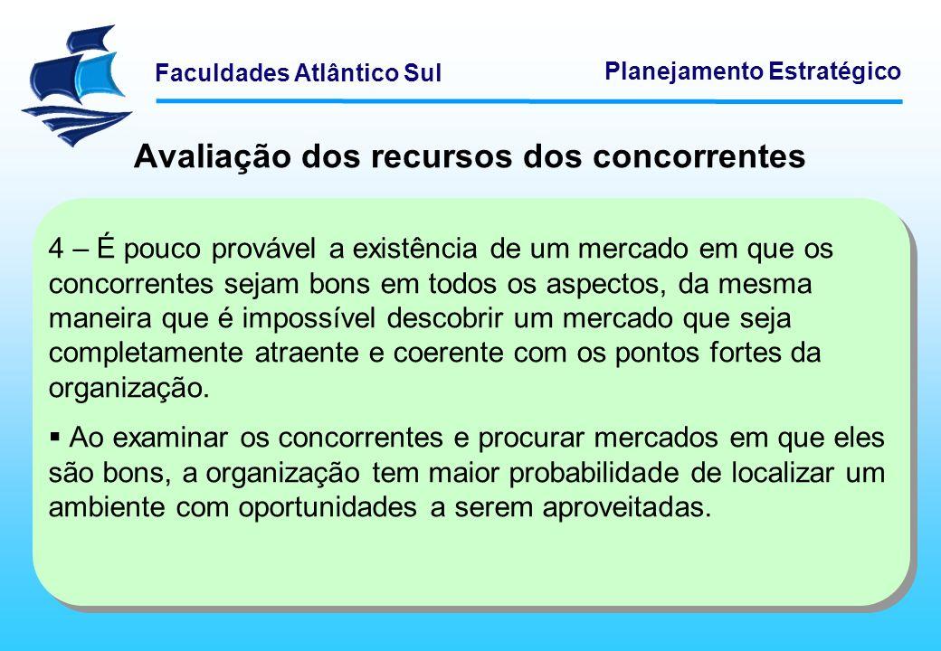 Faculdades Atlântico Sul Planejamento Estratégico Avaliação dos recursos dos concorrentes 4 – É pouco provável a existência de um mercado em que os co