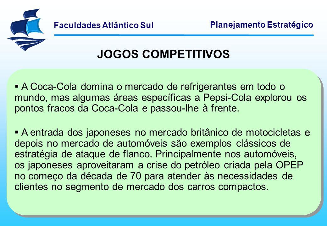 Faculdades Atlântico Sul Planejamento Estratégico JOGOS COMPETITIVOS A Coca-Cola domina o mercado de refrigerantes em todo o mundo, mas algumas áreas