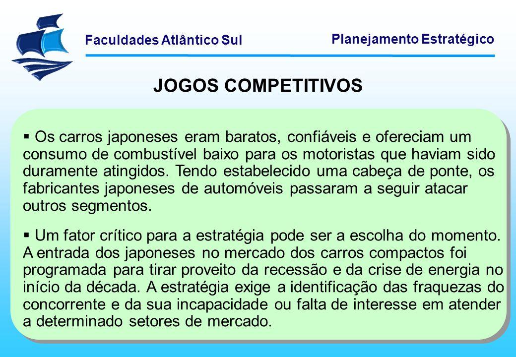 Faculdades Atlântico Sul Planejamento Estratégico JOGOS COMPETITIVOS Os carros japoneses eram baratos, confiáveis e ofereciam um consumo de combustíve
