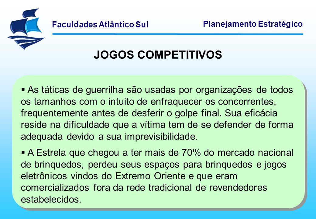 Faculdades Atlântico Sul Planejamento Estratégico JOGOS COMPETITIVOS As táticas de guerrilha são usadas por organizações de todos os tamanhos com o in