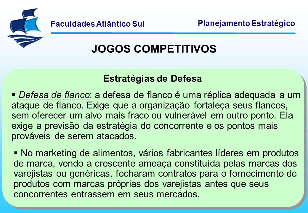 Faculdades Atlântico Sul Planejamento Estratégico JOGOS COMPETITIVOS Estratégias de Defesa Defesa de flanco: a defesa de flanco é uma réplica adequada