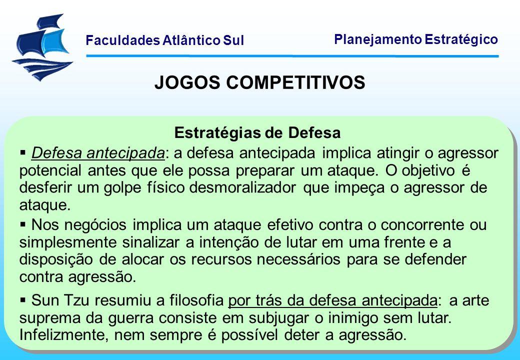 Faculdades Atlântico Sul Planejamento Estratégico JOGOS COMPETITIVOS Estratégias de Defesa Defesa antecipada: a defesa antecipada implica atingir o ag