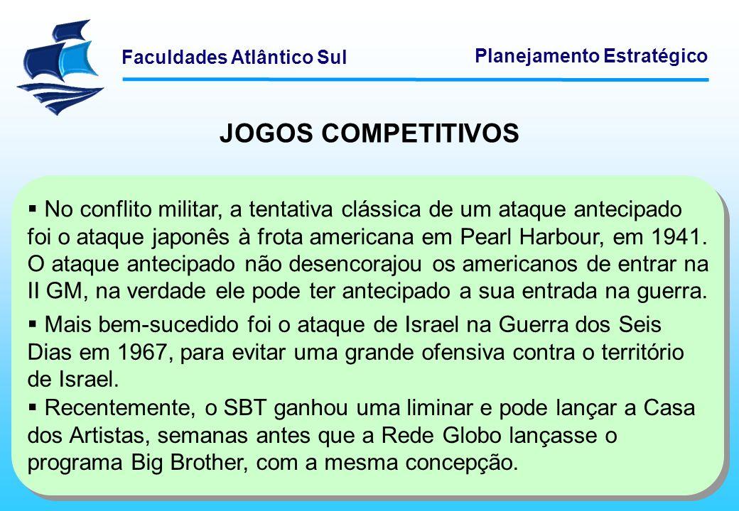 Faculdades Atlântico Sul Planejamento Estratégico JOGOS COMPETITIVOS No conflito militar, a tentativa clássica de um ataque antecipado foi o ataque ja