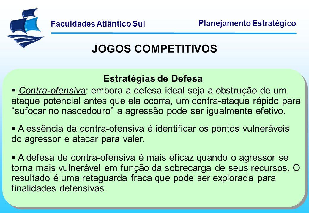 Faculdades Atlântico Sul Planejamento Estratégico JOGOS COMPETITIVOS Estratégias de Defesa Contra-ofensiva: embora a defesa ideal seja a obstrução de