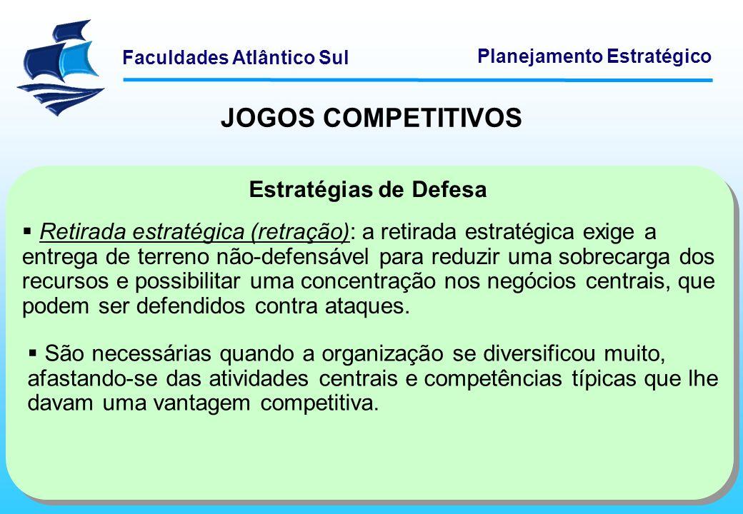 Faculdades Atlântico Sul Planejamento Estratégico JOGOS COMPETITIVOS Estratégias de Defesa Retirada estratégica (retração): a retirada estratégica exi