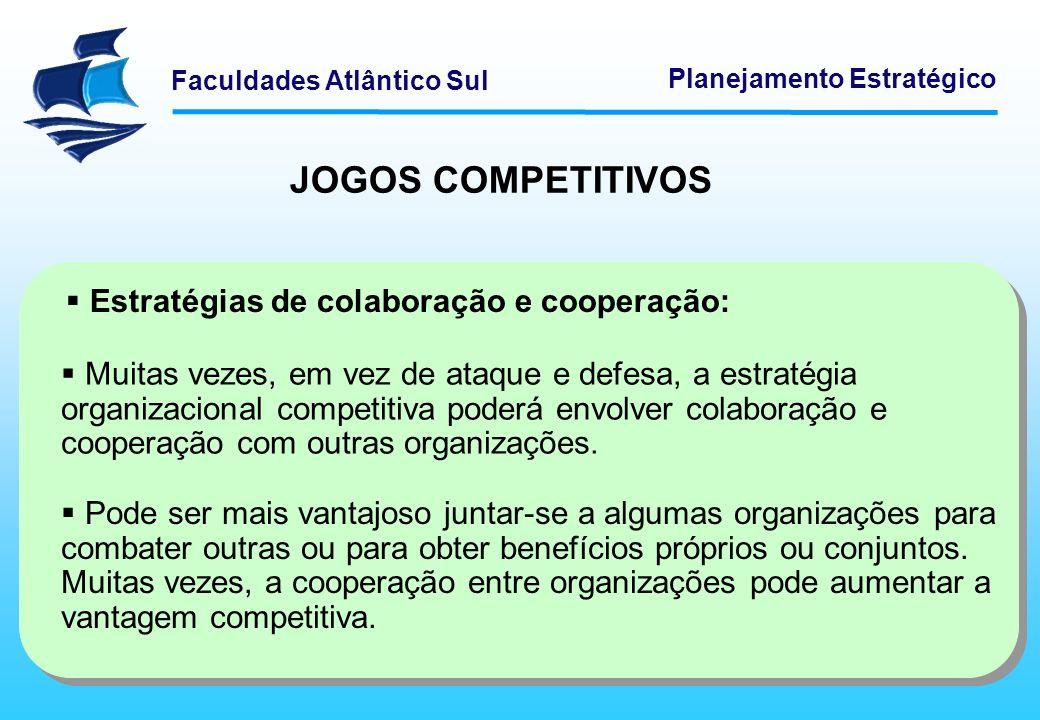 Faculdades Atlântico Sul Planejamento Estratégico Estratégias de colaboração e cooperação: Muitas vezes, em vez de ataque e defesa, a estratégia organ
