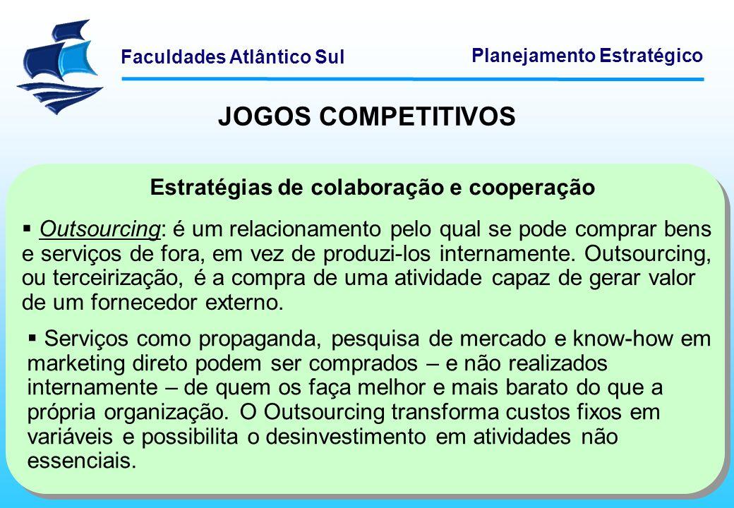 Faculdades Atlântico Sul Planejamento Estratégico Estratégias de colaboração e cooperação Outsourcing: é um relacionamento pelo qual se pode comprar b