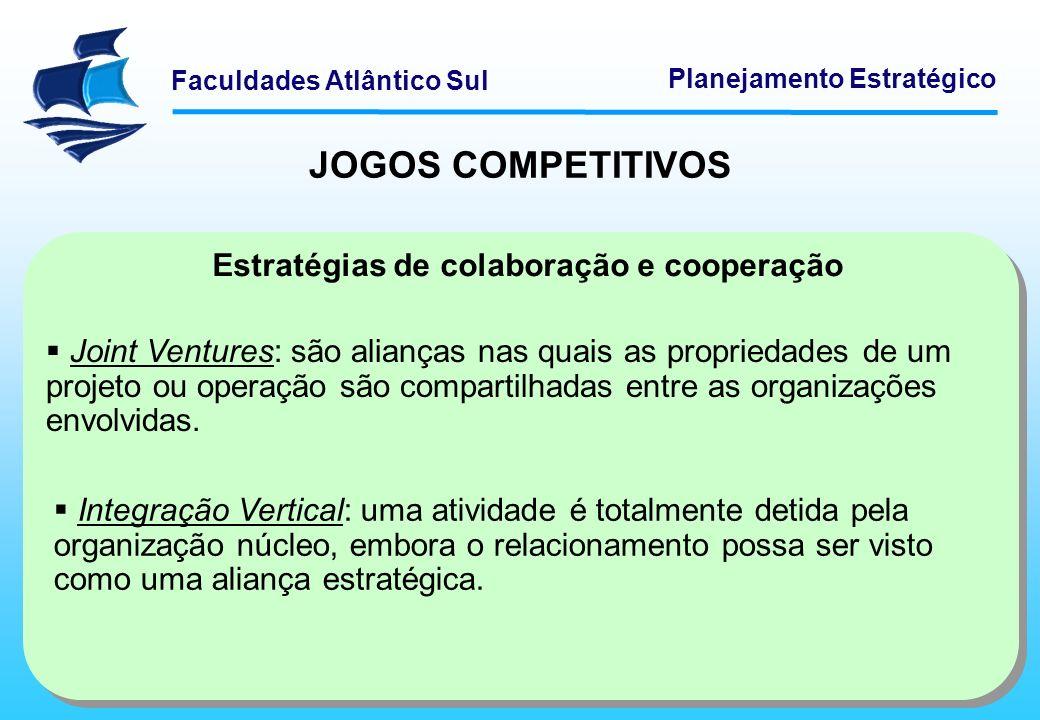 Faculdades Atlântico Sul Planejamento Estratégico Estratégias de colaboração e cooperação Joint Ventures: são alianças nas quais as propriedades de um