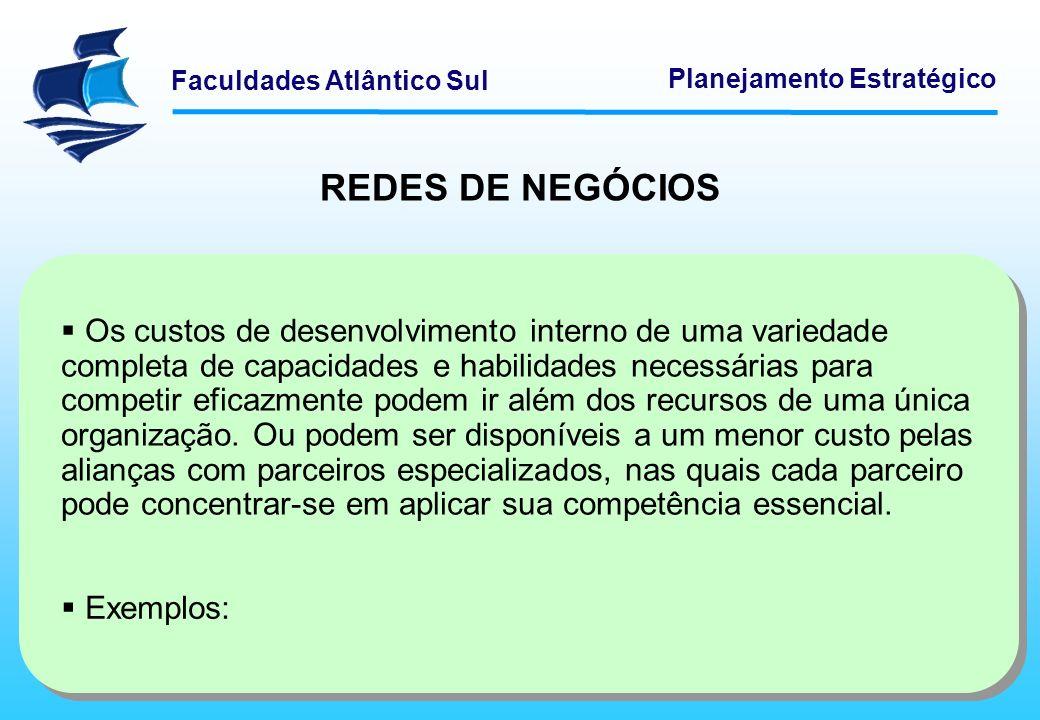 Faculdades Atlântico Sul Planejamento Estratégico REDES DE NEGÓCIOS Os custos de desenvolvimento interno de uma variedade completa de capacidades e ha