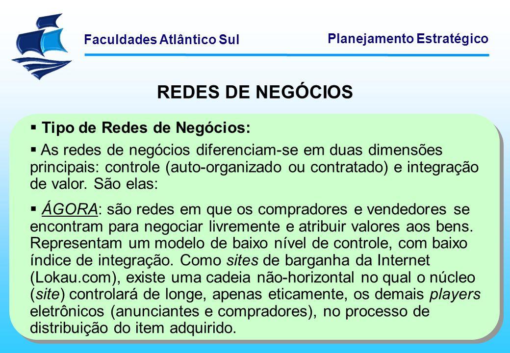 Faculdades Atlântico Sul Planejamento Estratégico REDES DE NEGÓCIOS Tipo de Redes de Negócios: As redes de negócios diferenciam-se em duas dimensões p