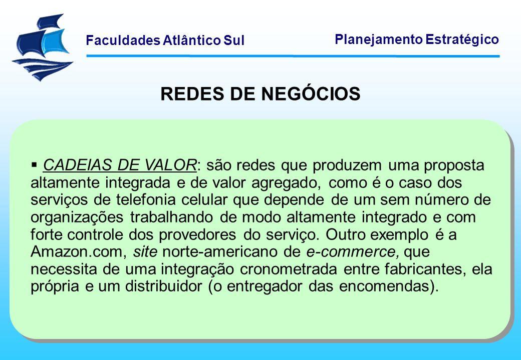 Faculdades Atlântico Sul Planejamento Estratégico REDES DE NEGÓCIOS CADEIAS DE VALOR: são redes que produzem uma proposta altamente integrada e de val