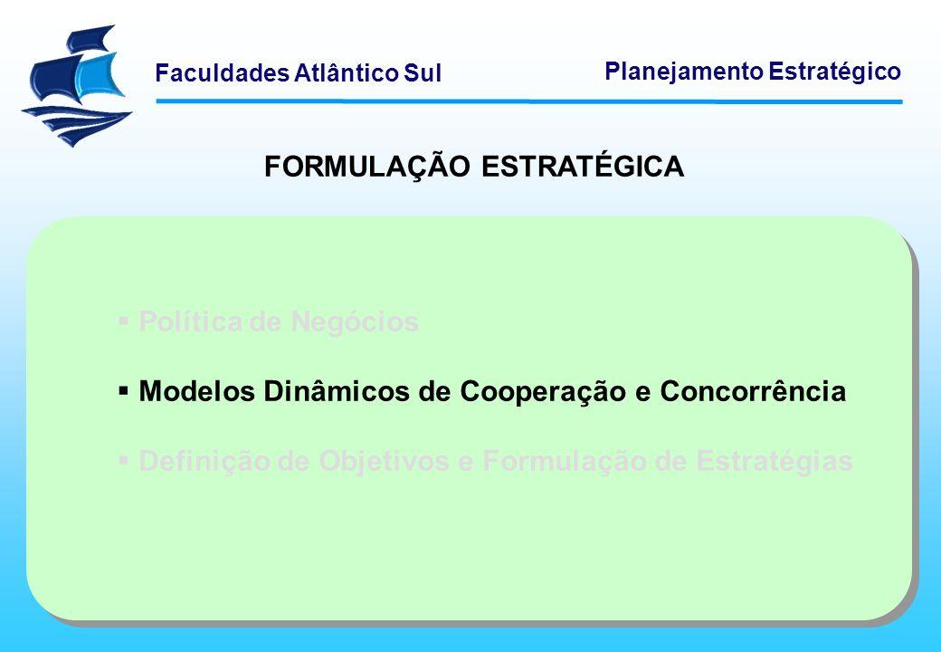 Faculdades Atlântico Sul Planejamento Estratégico Estratégias de colaboração e cooperação: Muitas vezes, em vez de ataque e defesa, a estratégia organizacional competitiva poderá envolver colaboração e cooperação com outras organizações.